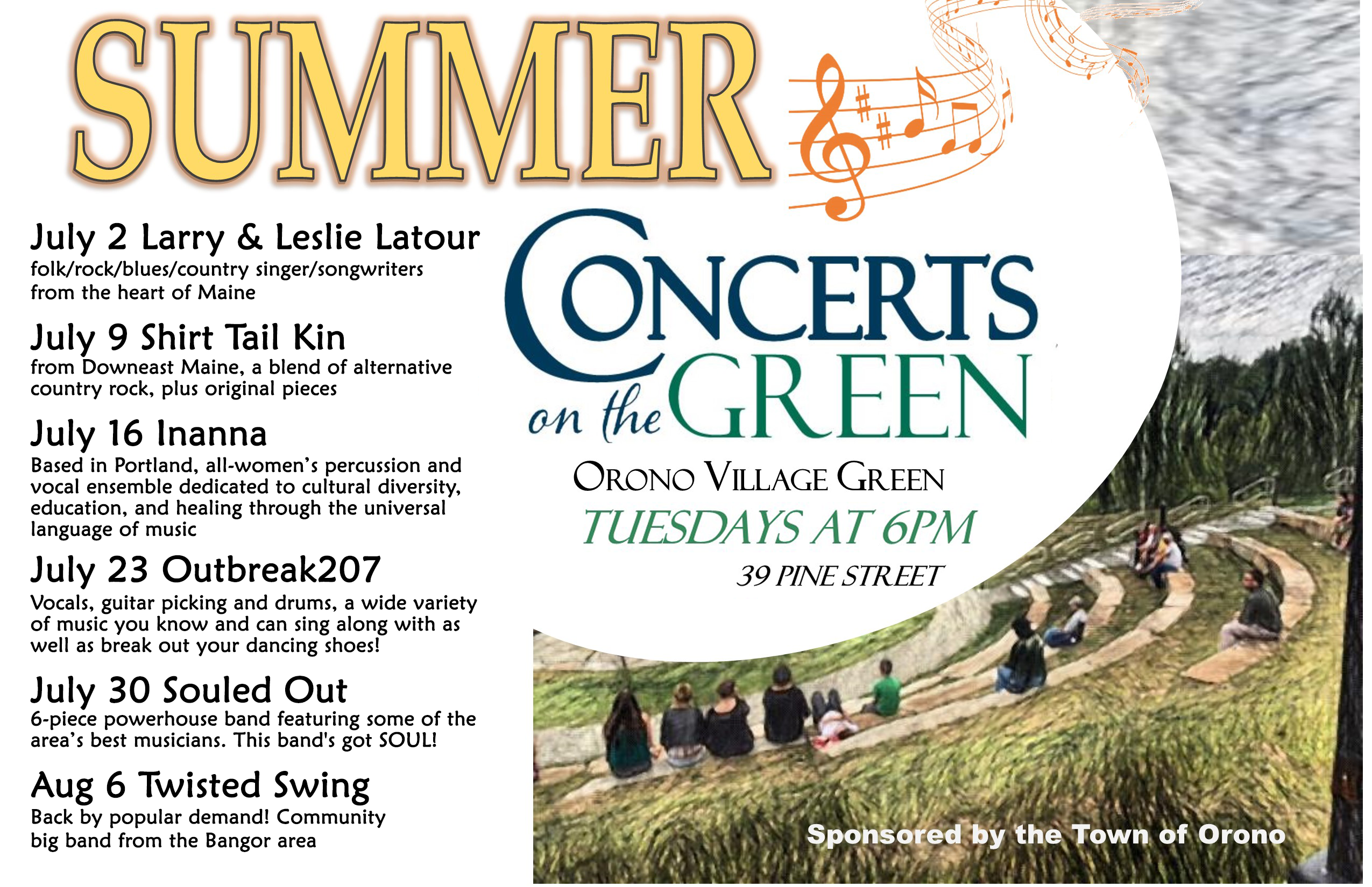 Summer Concert Series schedule - see below for text version