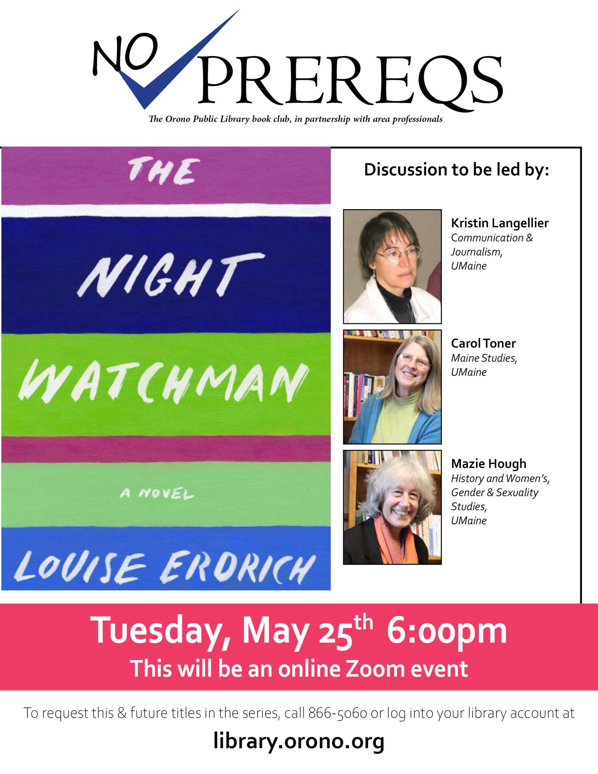 The Night Watchman book talk 5/25 at 6pm