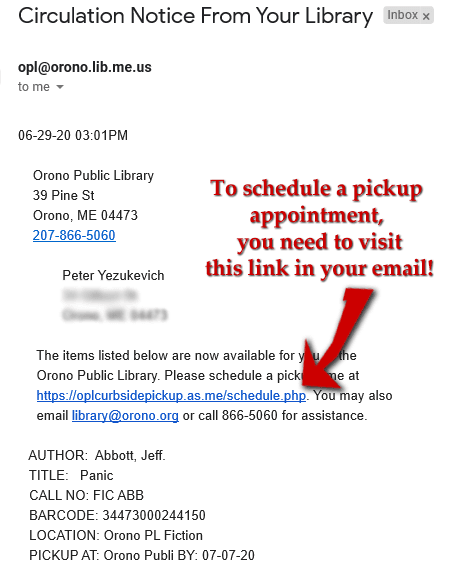 email from OPL re: Acuity scheduling pickup link